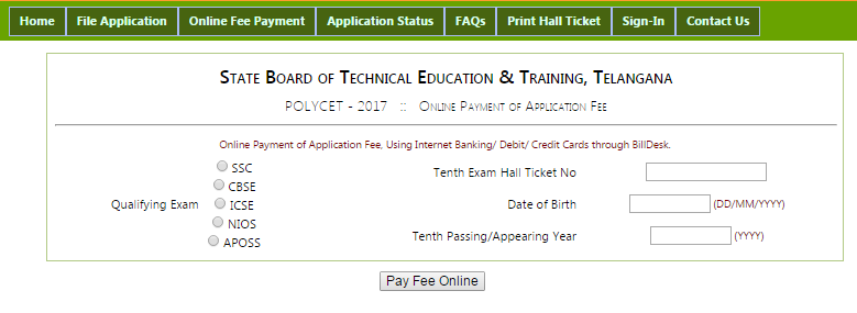 TS CEEP application fee payment