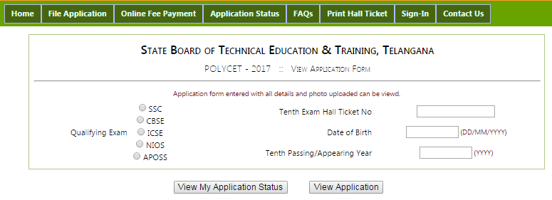 Telangana Polycet Application Status